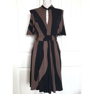 Issa London 100% Silk Keyhole Black & Brown Dress